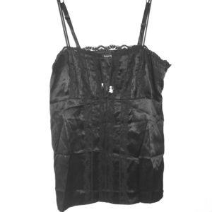 100% silk Black Lacey camisole Strapey Tank Top